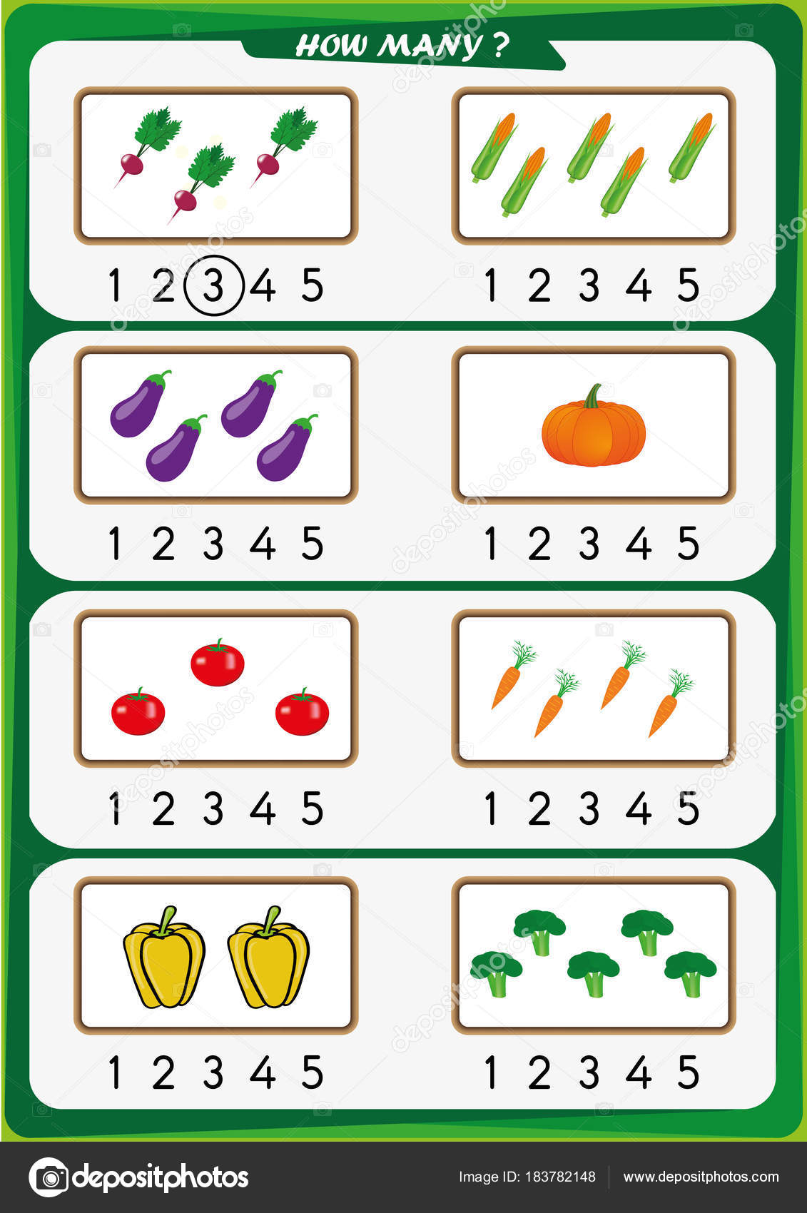Arbeitsblatt für Kindergarten-Kinder, die Anzahl der Objekte, lernen ...