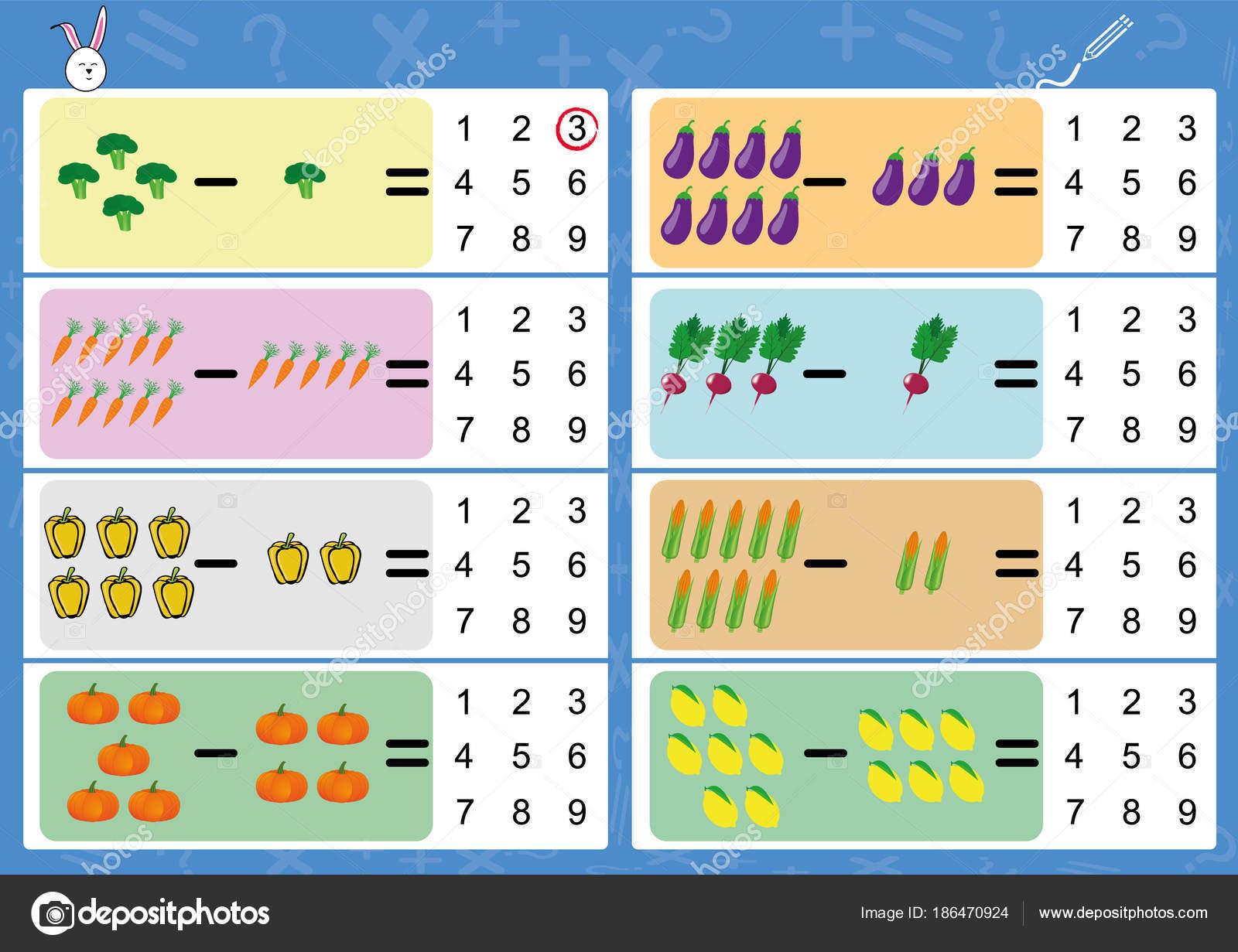 subtrahieren mit Bildern, Mathe Arbeitsblatt für Kinder ...