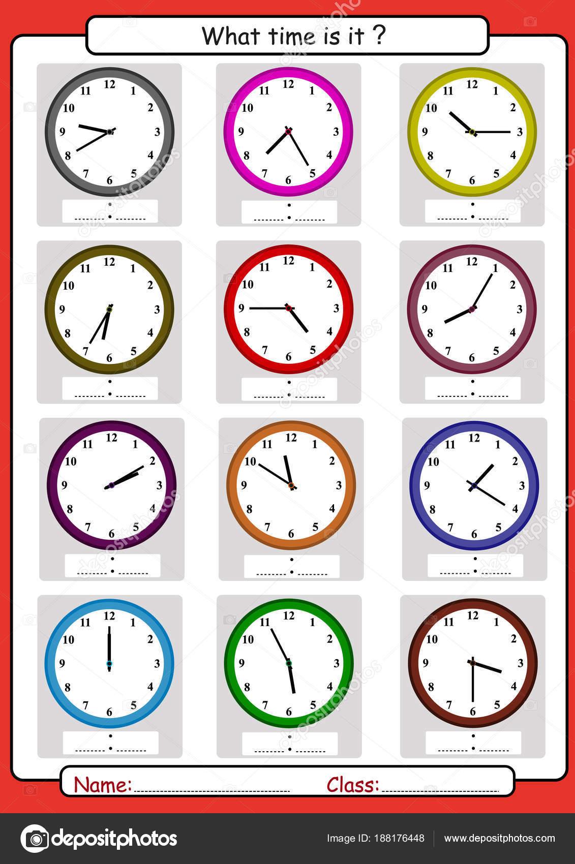 Wie spät es ist, was ist die Zeit, Zeit, Uhrablesen zeichnen ...