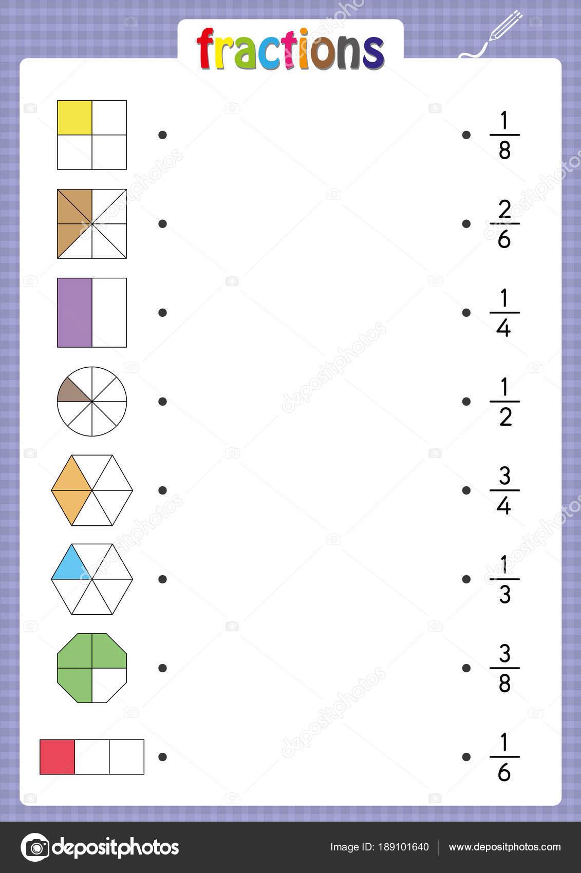 coincidir con formas con fracciones correcto, hoja de trabajo de ...