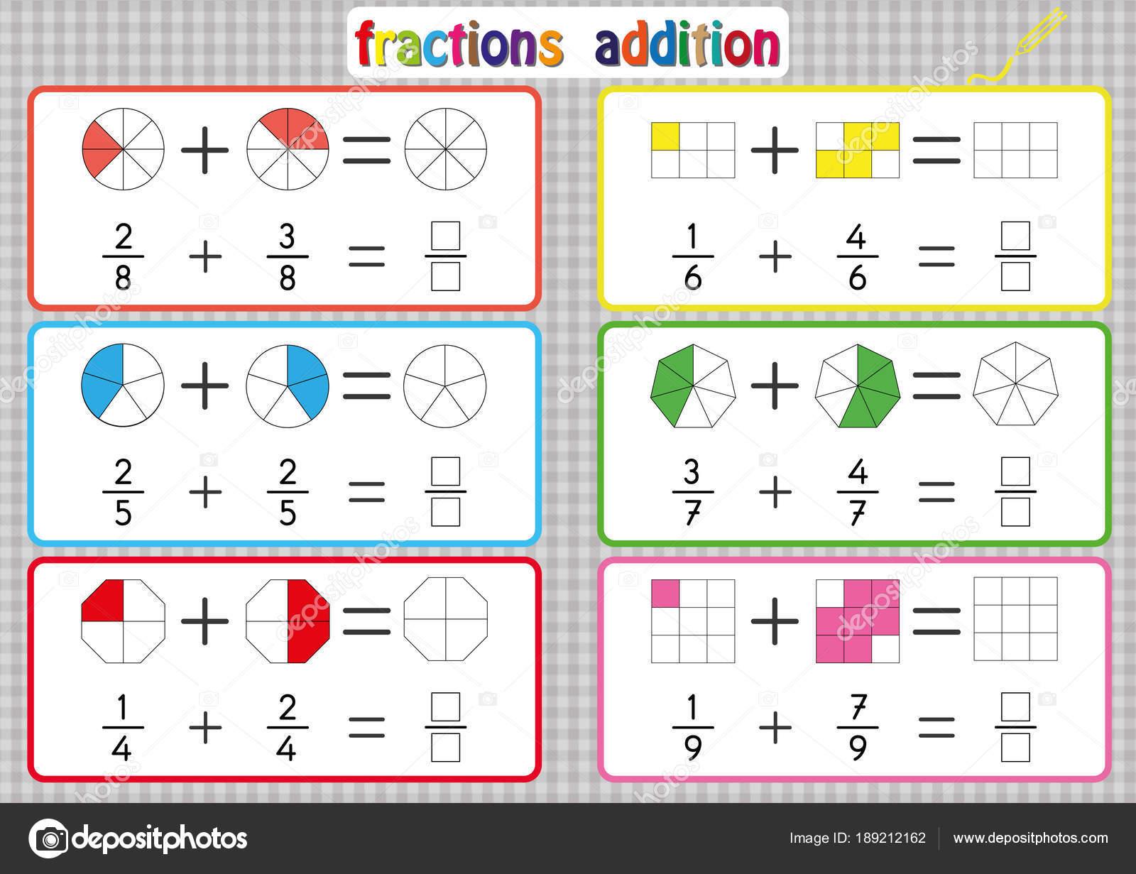 Adición de fracciones, para imprimir hojas de cálculo de fracciones ...