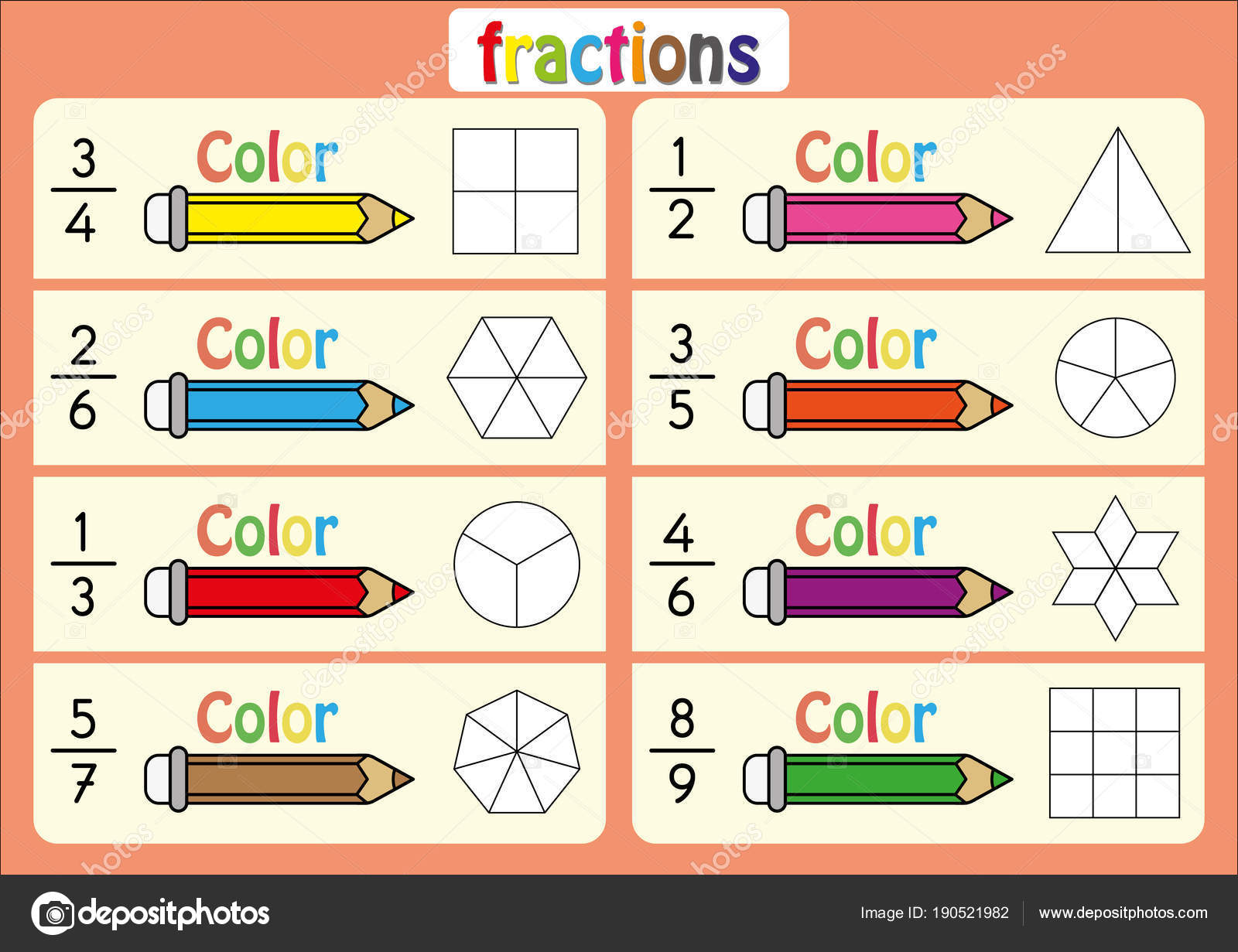 Bildungs-, Farbe der Teile der Form, die jede Fraktion, Mathe ...