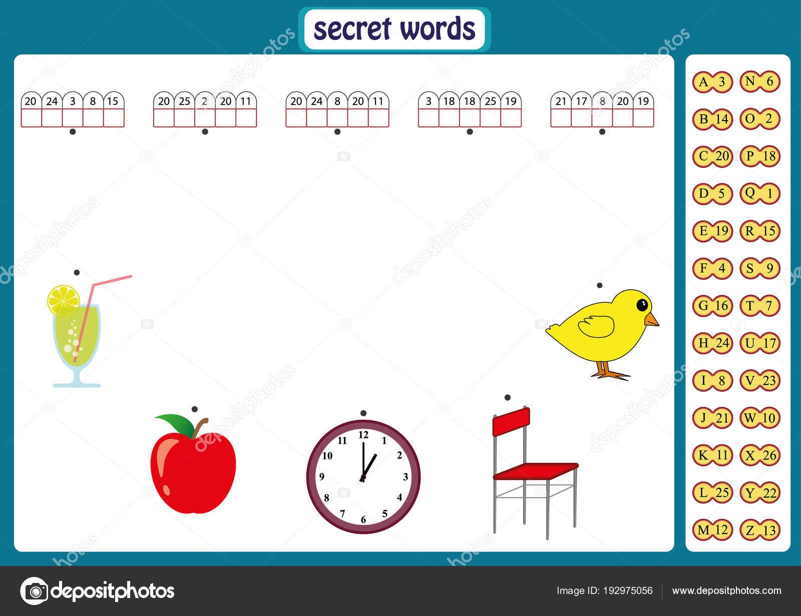 Wörter puzzle für Kinder, Lernspiel mit Nummern-Codes. Arbeitsblatt ...