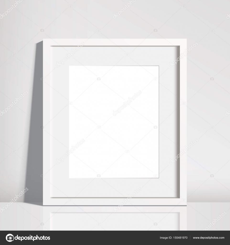 Cuadro blanco vacio realista maqueta de marco — Archivo Imágenes ...