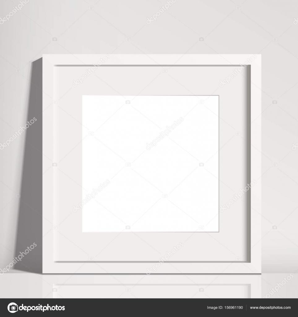 Cuadrado blanco realista mate cuadro marco maqueta — Vector de stock ...