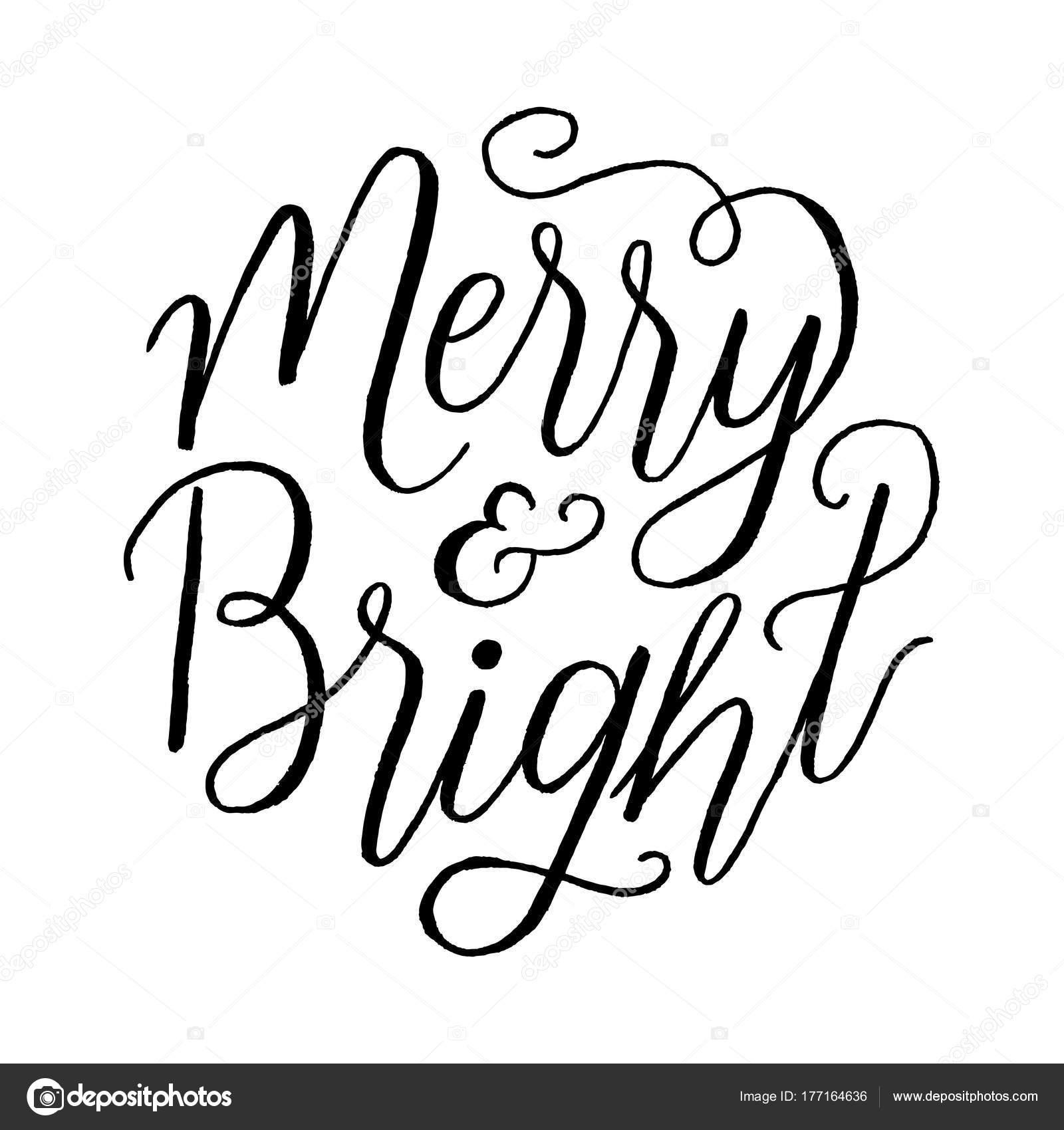 Merry Und Bright Hand Schriftzug Urlaub Nachricht Isoliert Auf ...