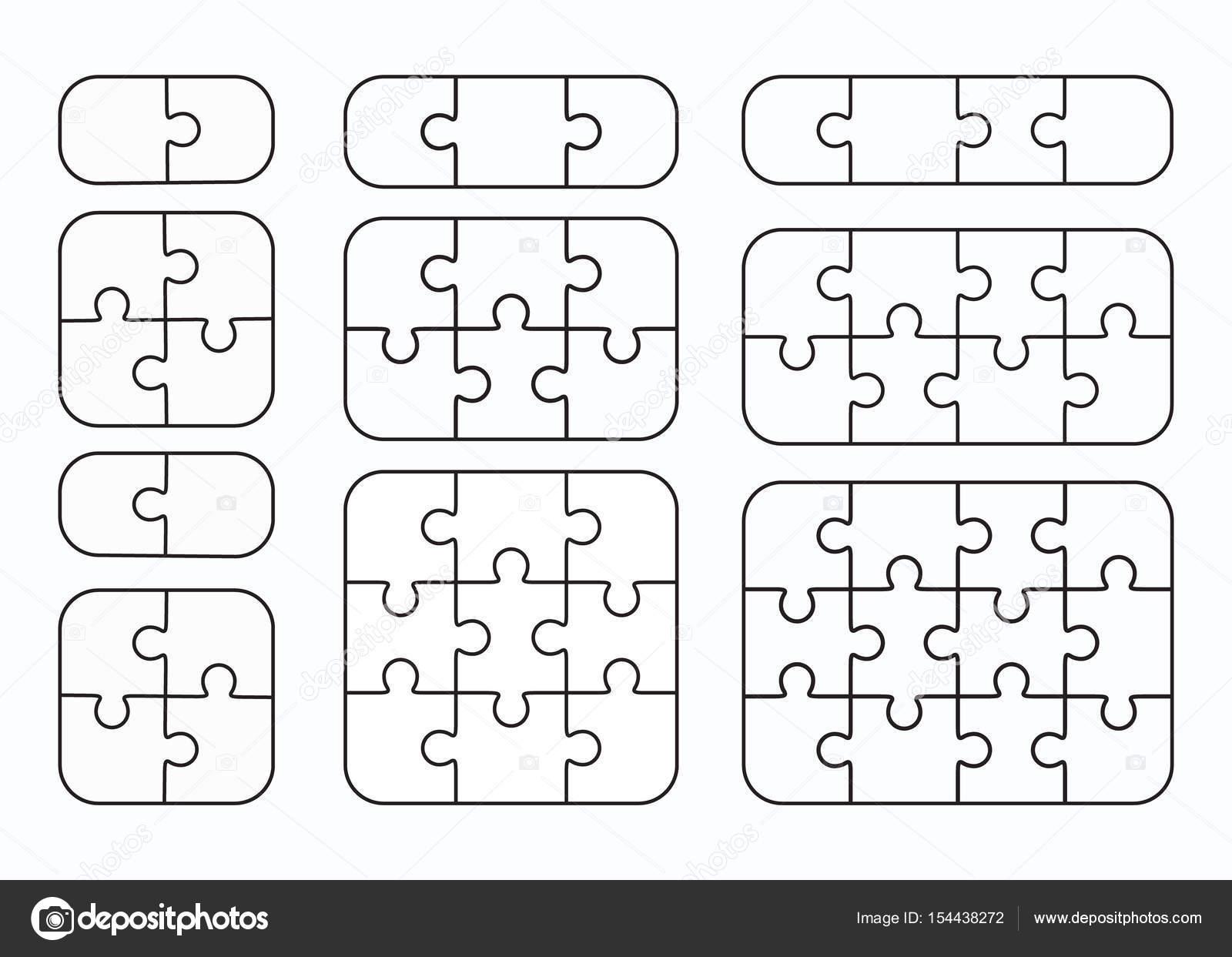 Jigsaw Puzzle Vektor flach leere Vorlagen festlegen — Stockvektor ...