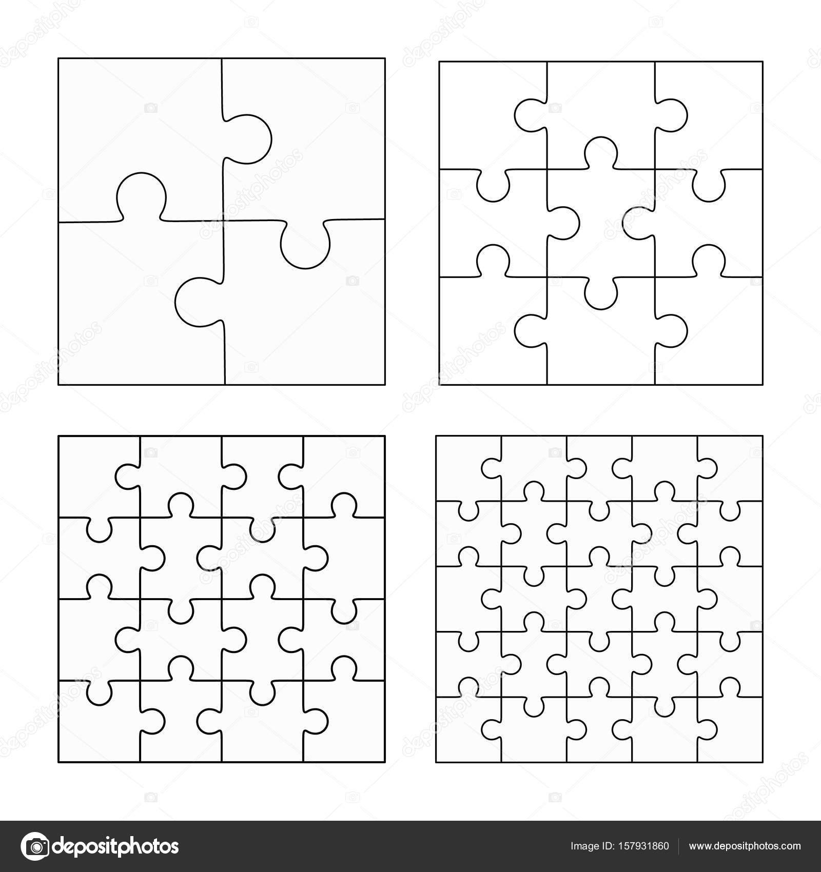 Jigsaw Puzzle vier Vektor flach leere Vorlagen festlegen ...
