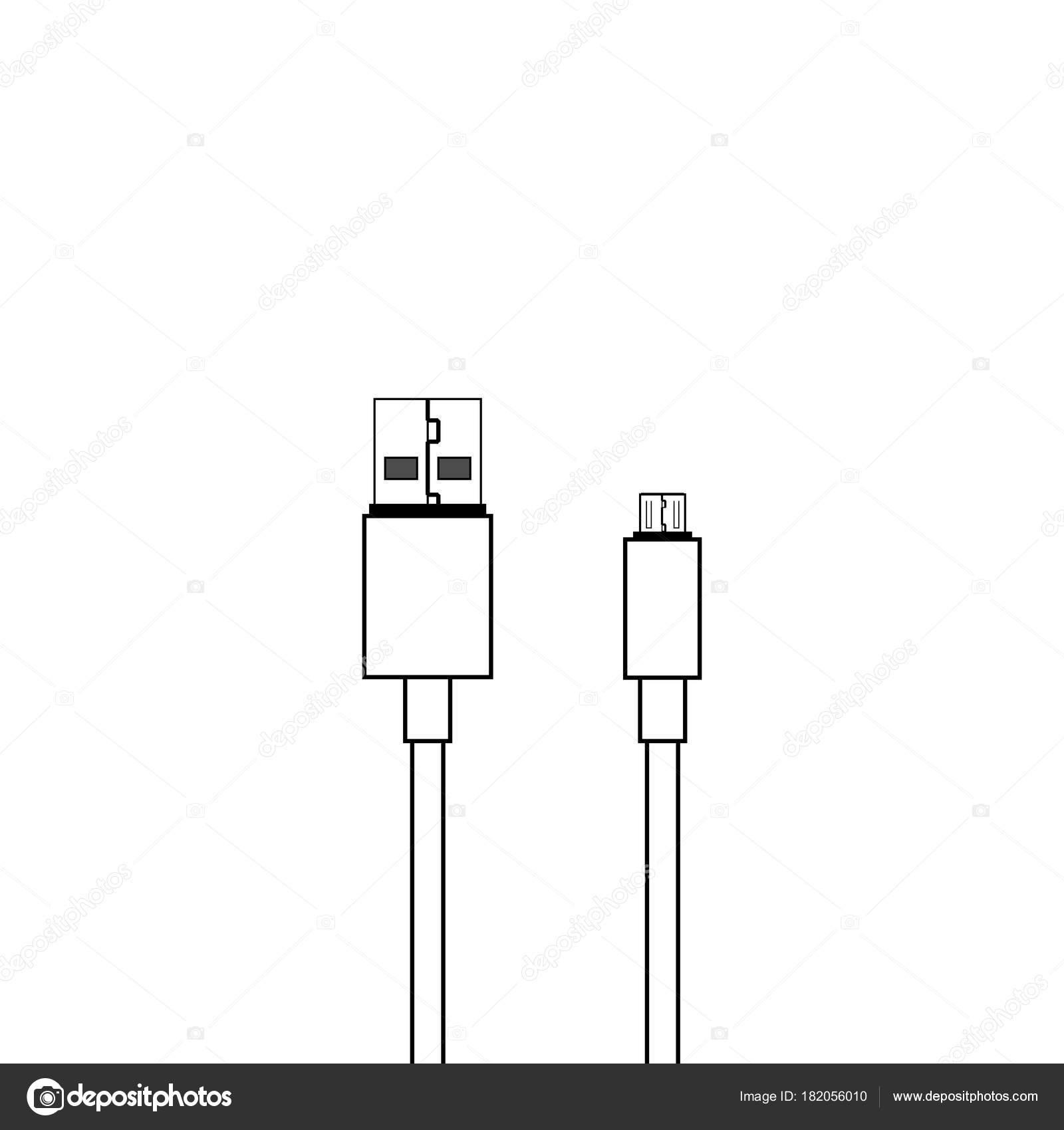 usb and micro usb cable vector icon stock vector c binik1 182056010 https depositphotos com 182056010 stock illustration usb and micro usb cable html