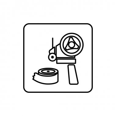 Scotch tape dispenser and scotch icon outline vector illustration. icon