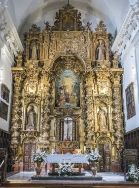 Altarpiece and The dome on the main chapel of the church of Our Lady of Grace, Almeria, Andalusia, Spain