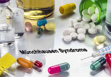Munchausen syndrome, medicines as concept of ordinary treatment, conceptual image