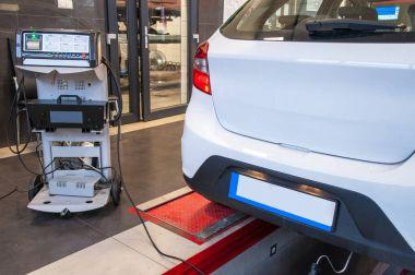 car diagnostic / exhaust gas measurement at a diagnostic station in a passenger car