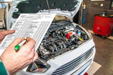 checklist / checklist when checking the technical condition of a car in a car service