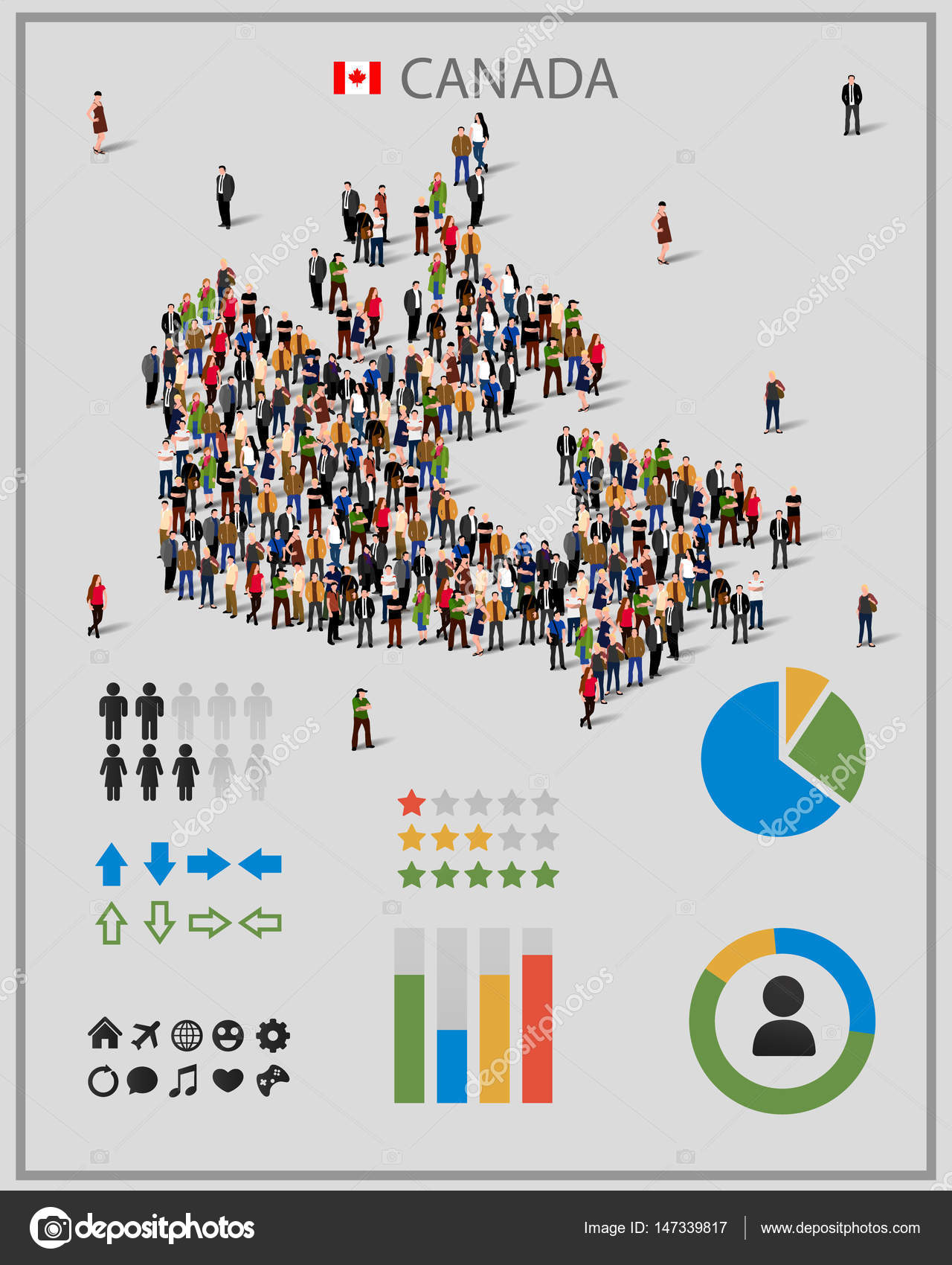 large group of people in form of canada map background for presentation stock