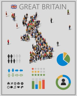 Large group of people in form of Great Britain map with infographics elements.