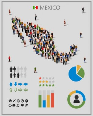 Large group of people in form of Mexico map with infographics elements.