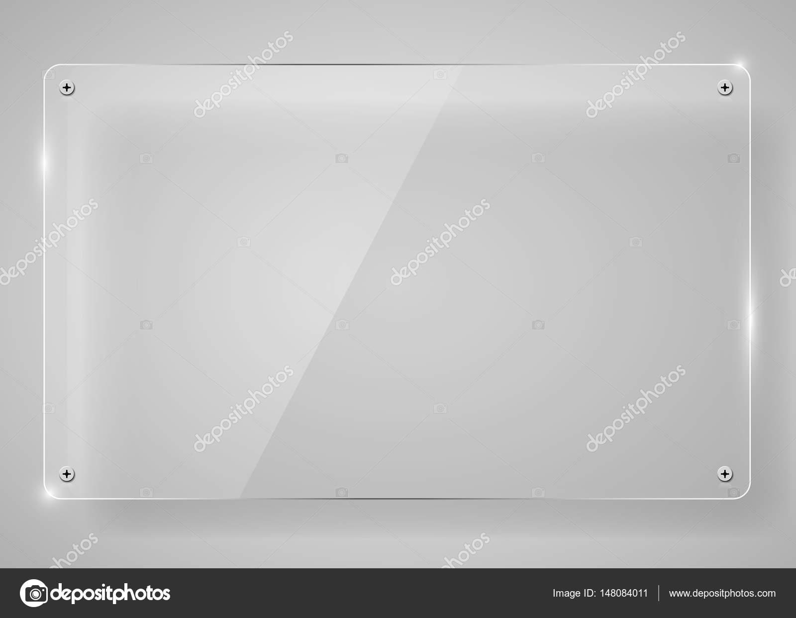 Marco de cristal transparente horizontal realista con sombra. Fondo ...