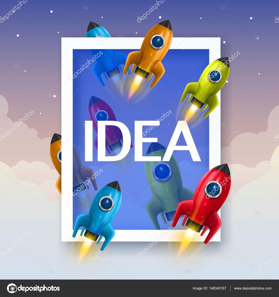 Rocket collage marco cubierta, elemento de diseño. Ilustración de ...