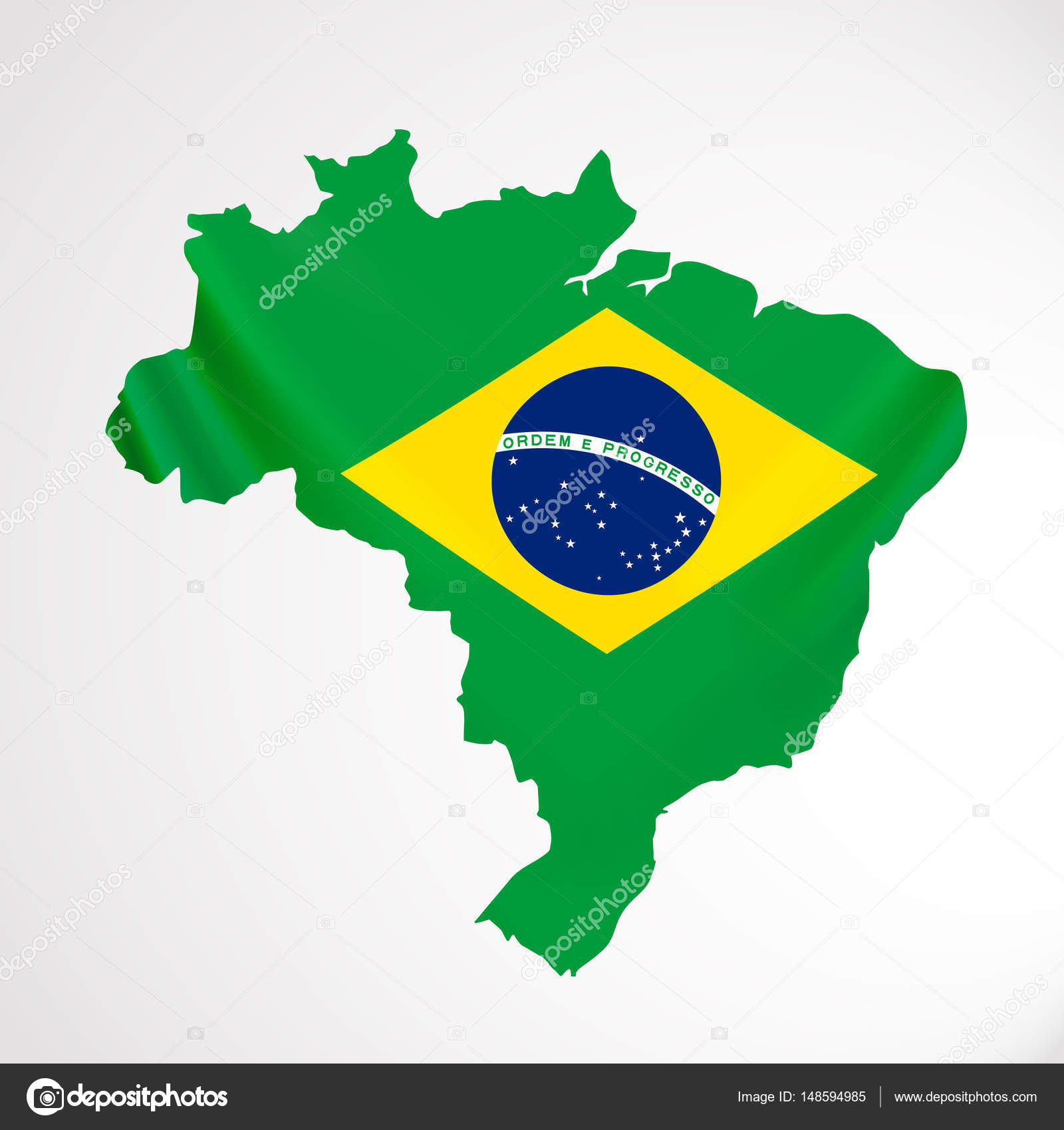 Hanging Brazil Flag In Form Of Map Federative Republic Of Brazil - Federative republic of brazil map