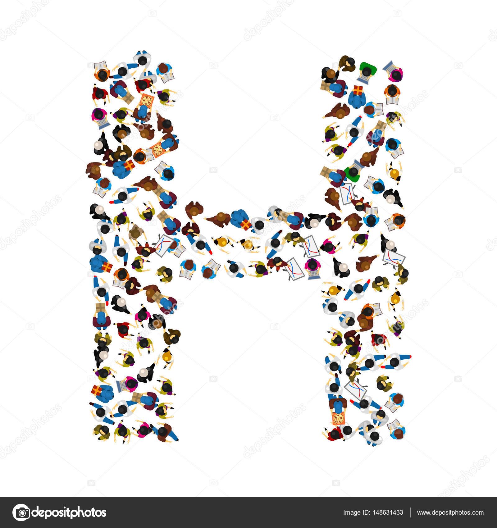 Un Groupe De Personnes Sous La Forme D Une Lettre De L Alphabet