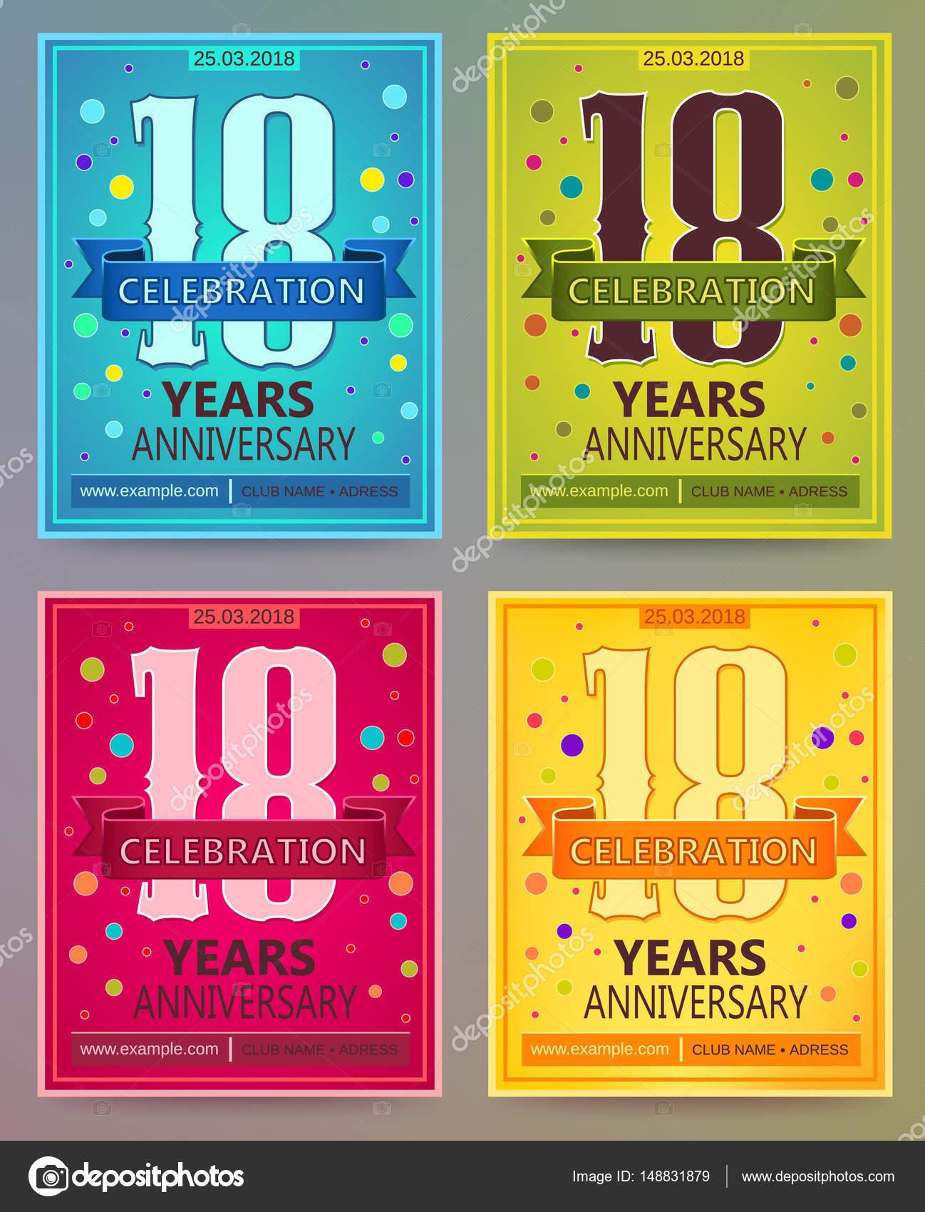 Volantes De Aniversario O Invitaciones Vector Plantillas 18