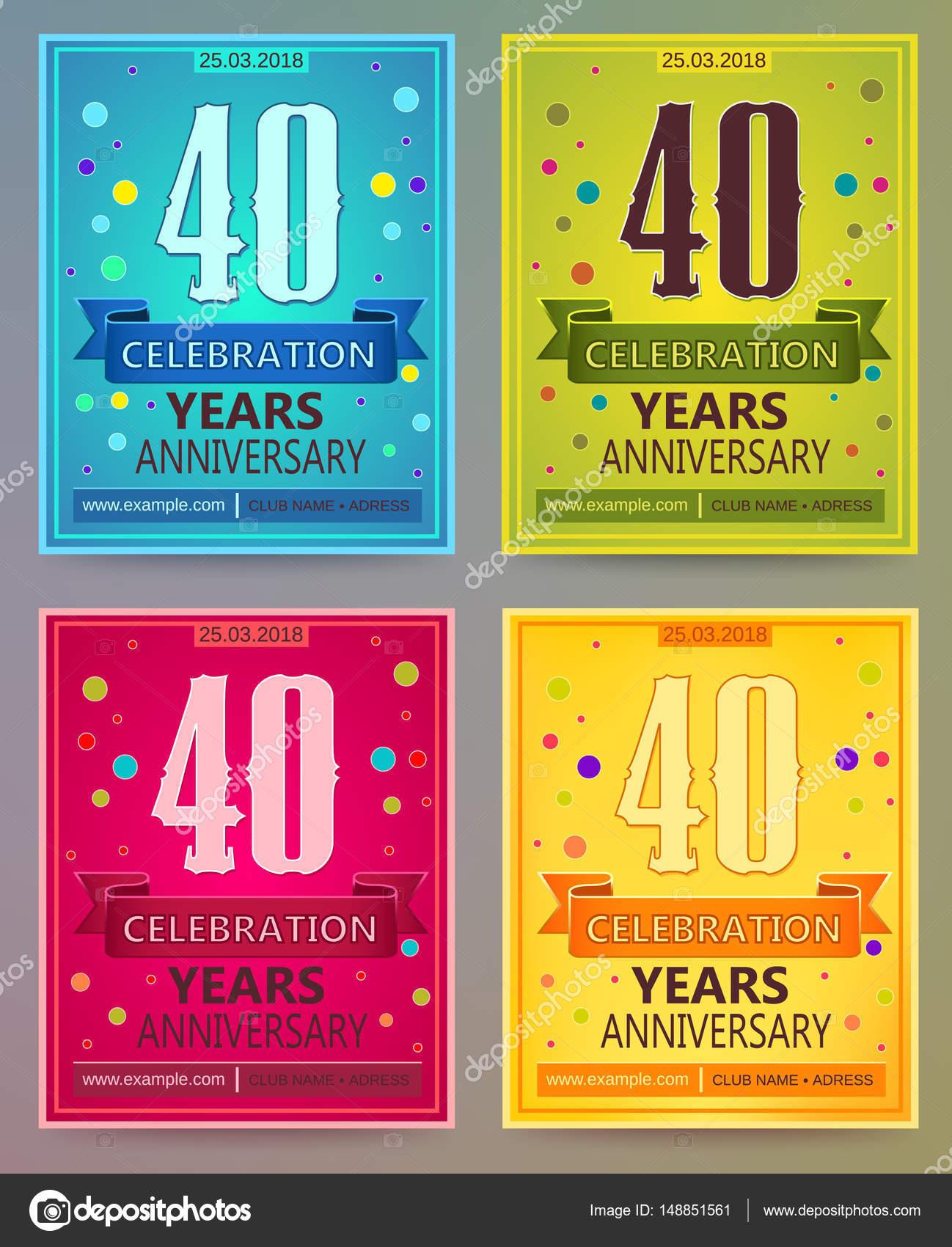 Volantes de aniversario o invitaciones vector plantillas. 40. Fotry ...
