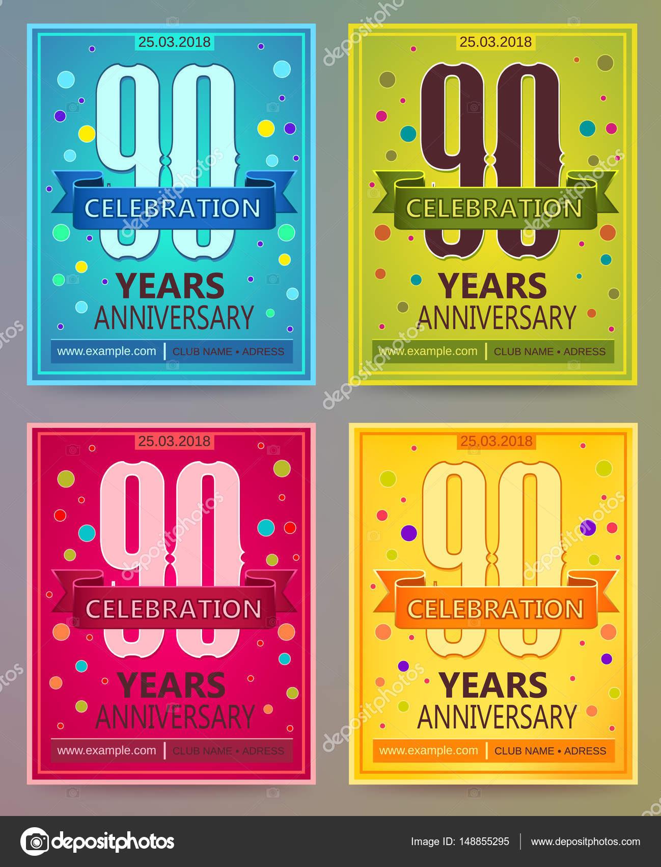 Volantes De Aniversario O Invitaciones Vector Plantillas 90
