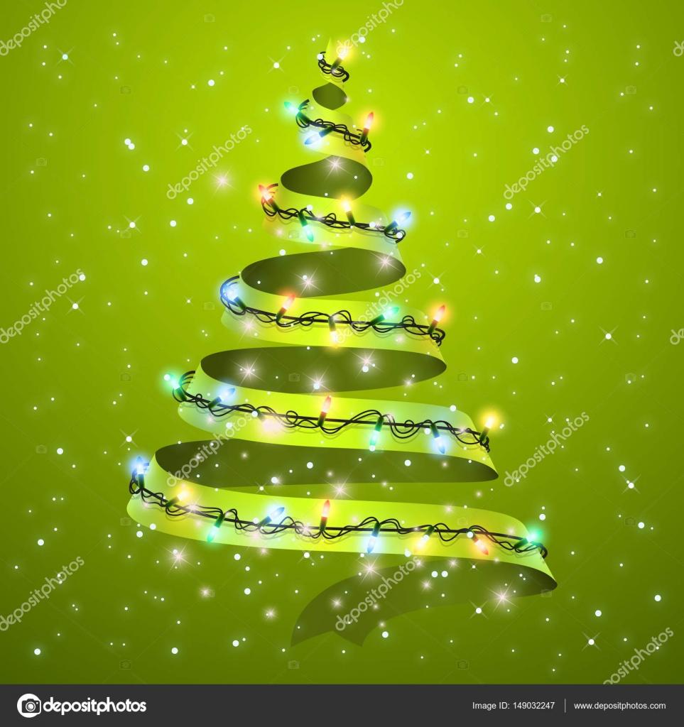 Ruban De Sapin De Noël Sur Fond Lumières Rougeoyantes Pour La