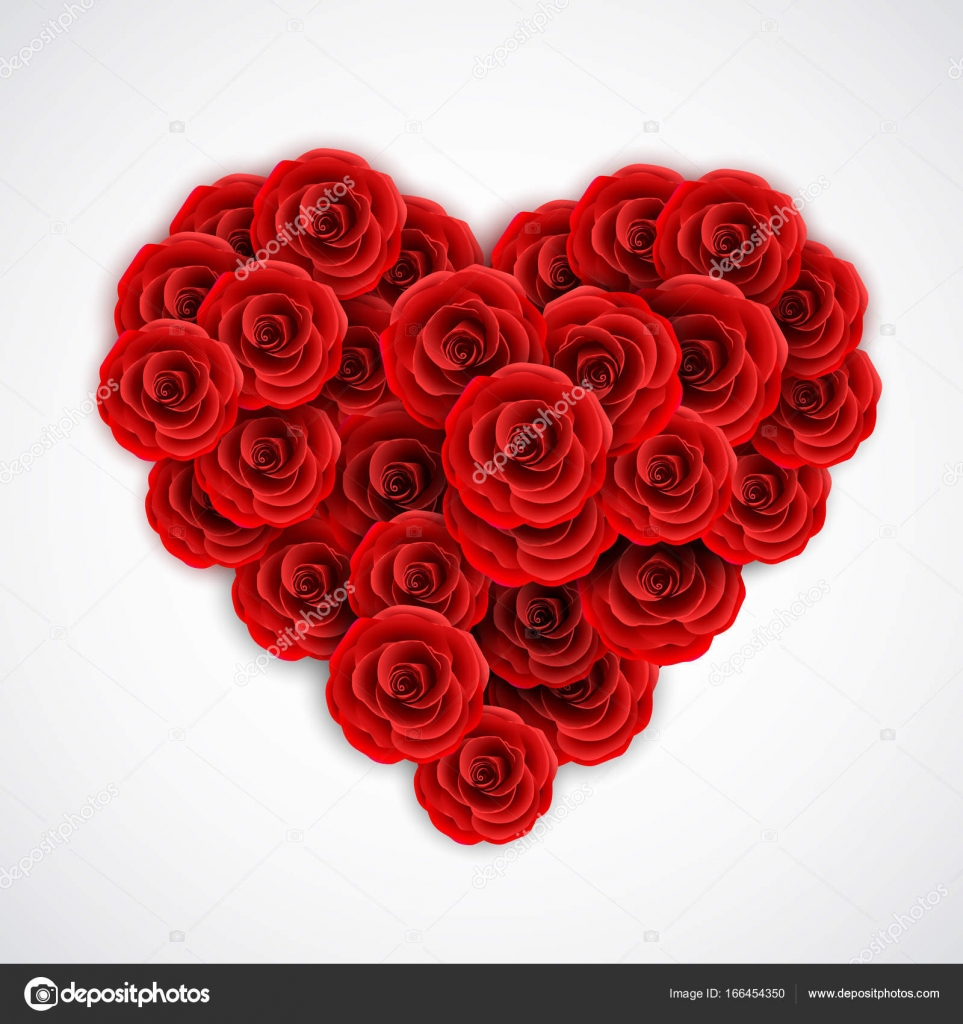 Red roses in form of heart. Rose decoration element for wedding ...