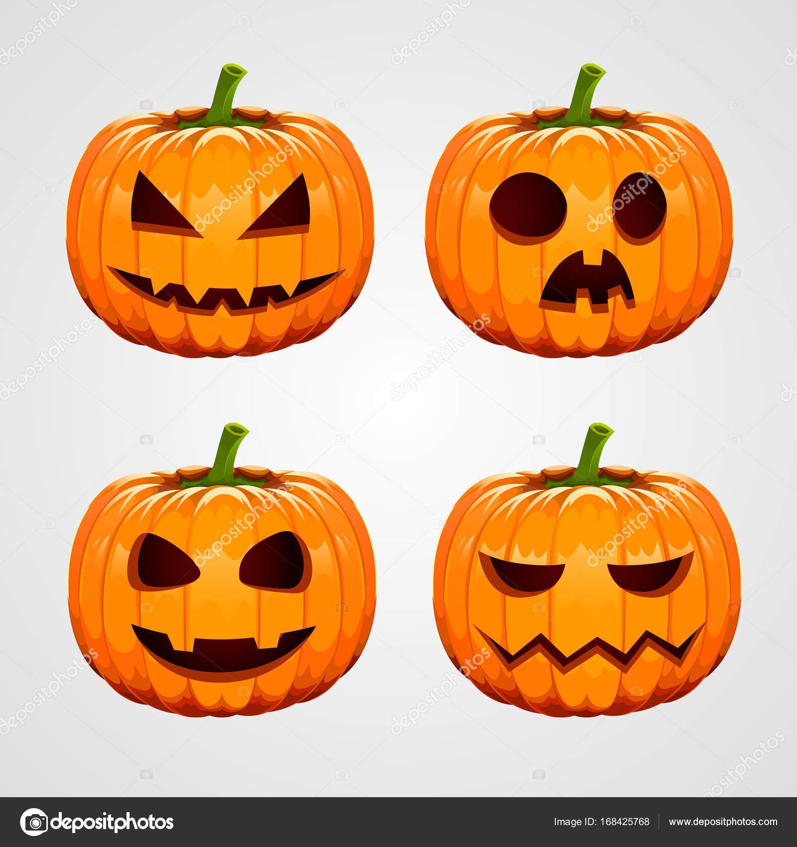 Facce Zucche Di Halloween.Insieme Delle Zucche Di Halloween Facce Buffe Vacanze Autunnali