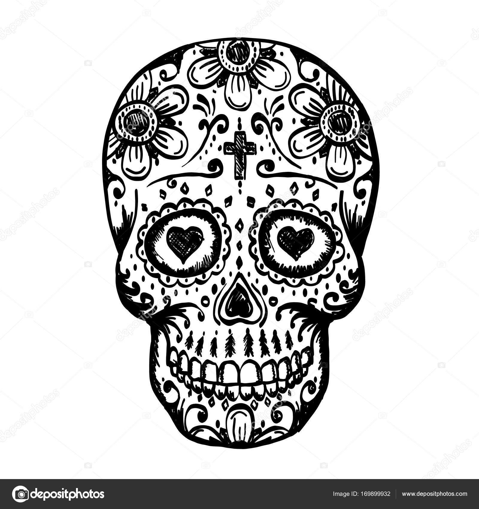 Drawings Day Of The Dead Skull Day Of The Dead Skull Sketch Stock Vector C Hobbit Art 169899932