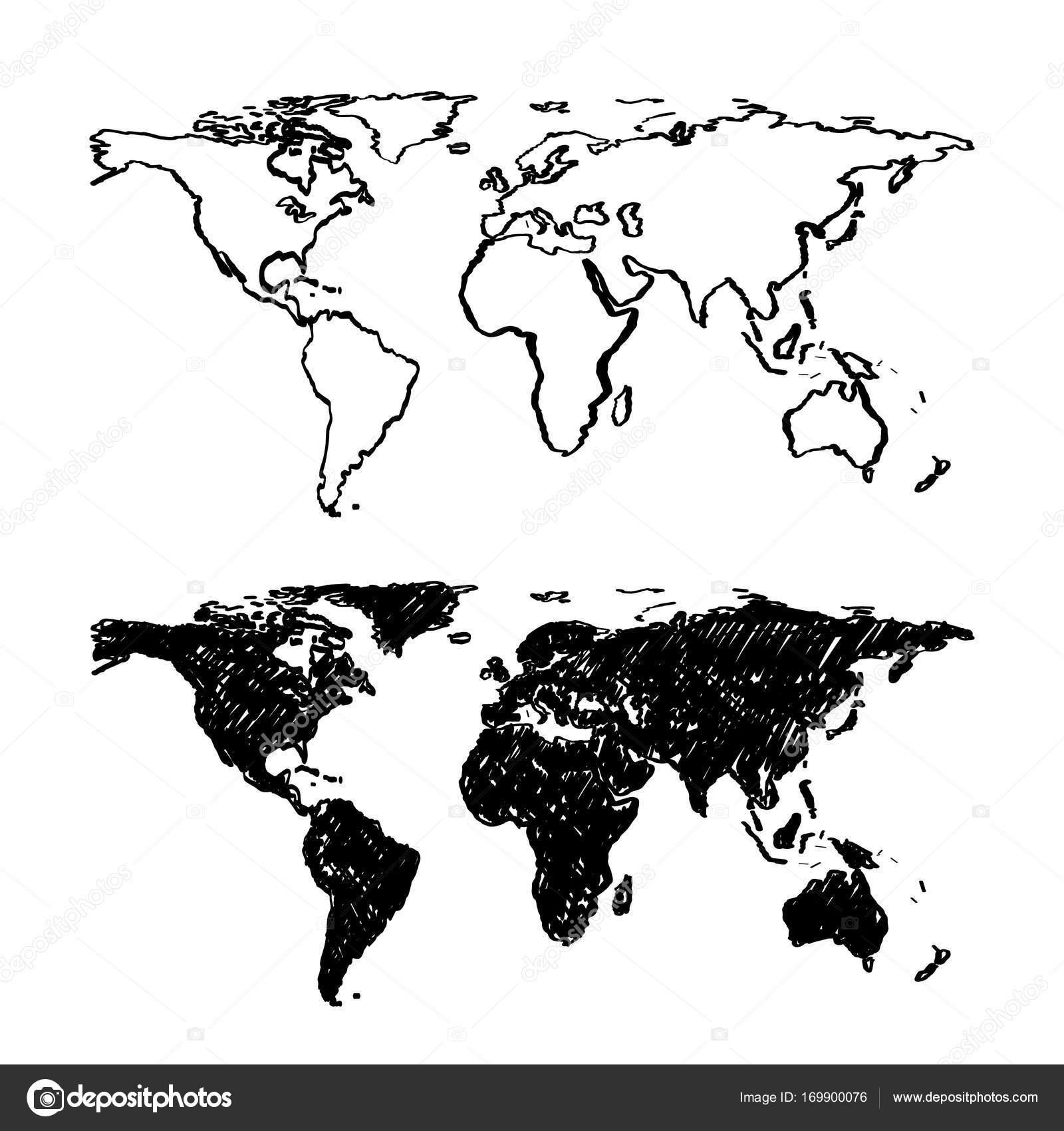 Sketch of hand drawn World map. — Stock Vector © hobbit_art #169900076