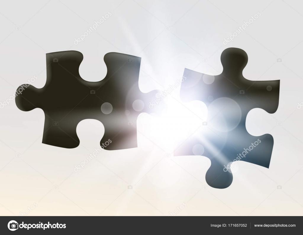 Zwei Beitritt Jigsaw Puzzle-Stück. Symbol der Vereinigung und ...