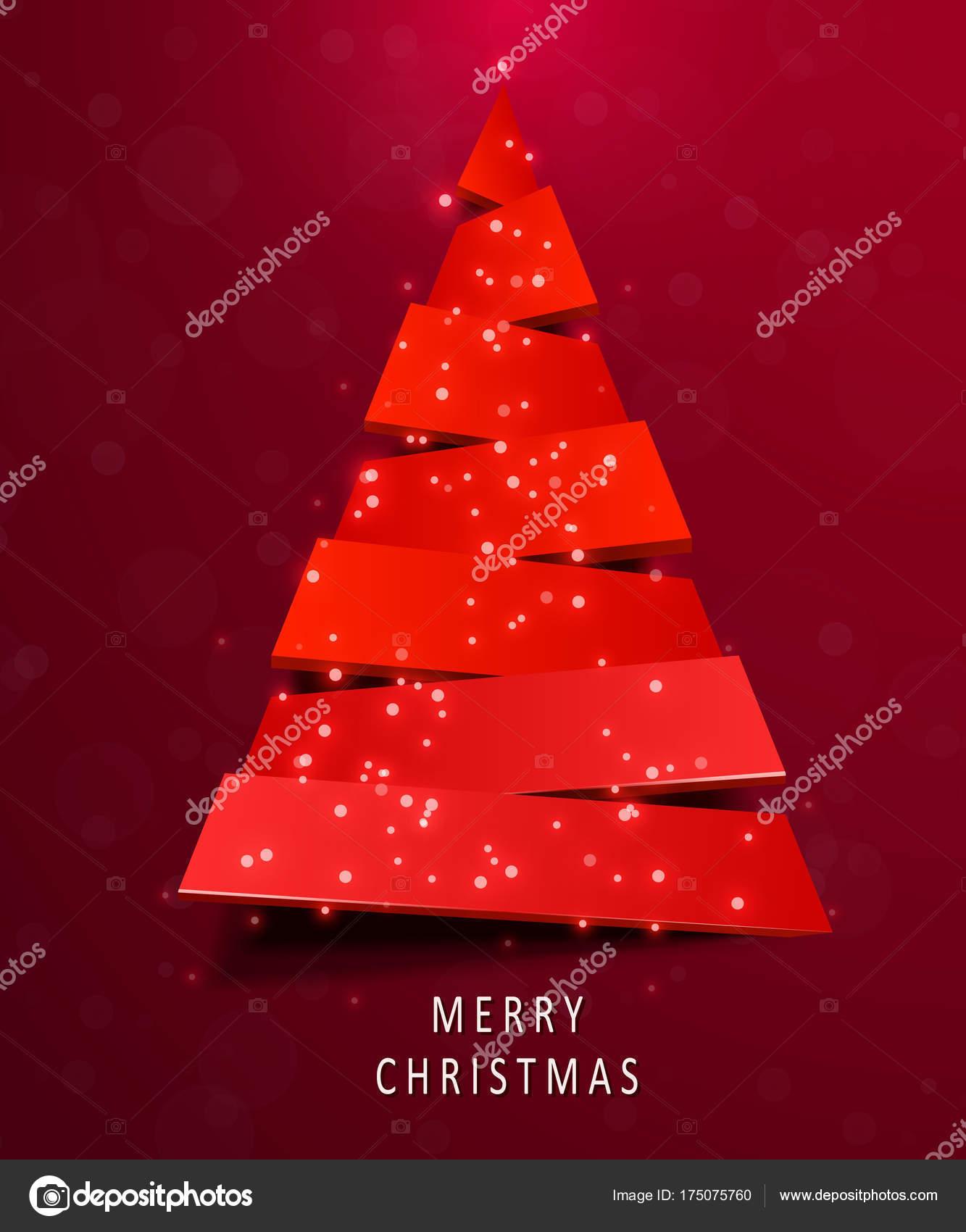 Biglietti Di Natale Di Carta.Albero Di Natale Fatto Di Carta Rossa Su Sfondo Rosso Capodanno E