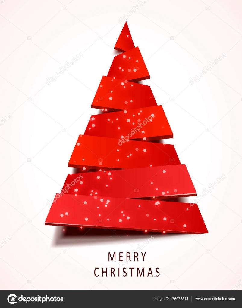 Biglietti Di Natale Di Carta.Albero Di Natale Fatto Di Carta Rossa Su Priorita Bassa Bianca