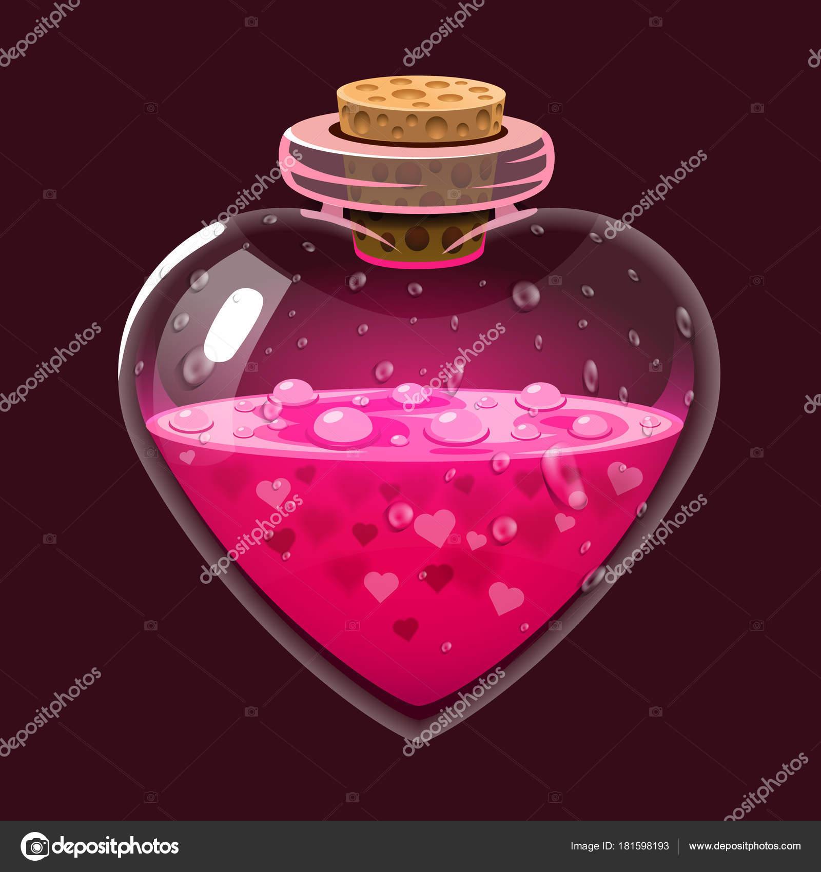 Botella Con Pocion De Amor Elixir Magico De Icono Diseno De