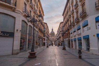 Zaragoza Spain. August 1, 2019, Alfonso Street in Zaragoza city in Spain