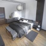 고급 침실에서 아름 다운 침대 — 스톡 사진 © kuprin33 #87650652