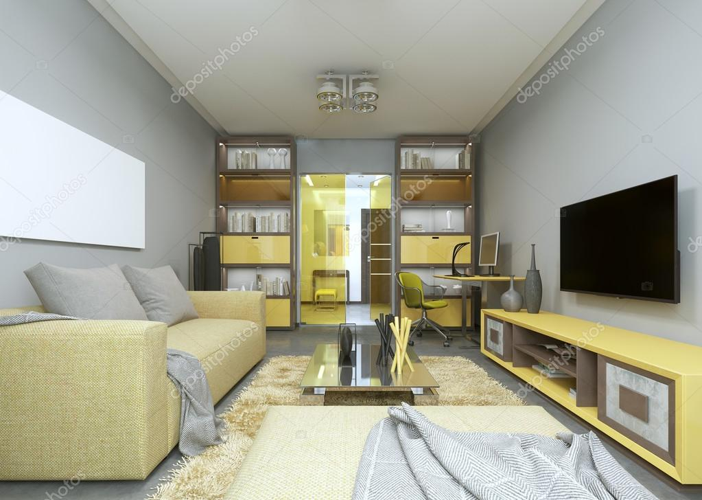 Ontwerp van moderne woonkamer in grijs en geel kleuren stockfoto kuprin33 128156304 - Fotos van moderne woonkamer ...