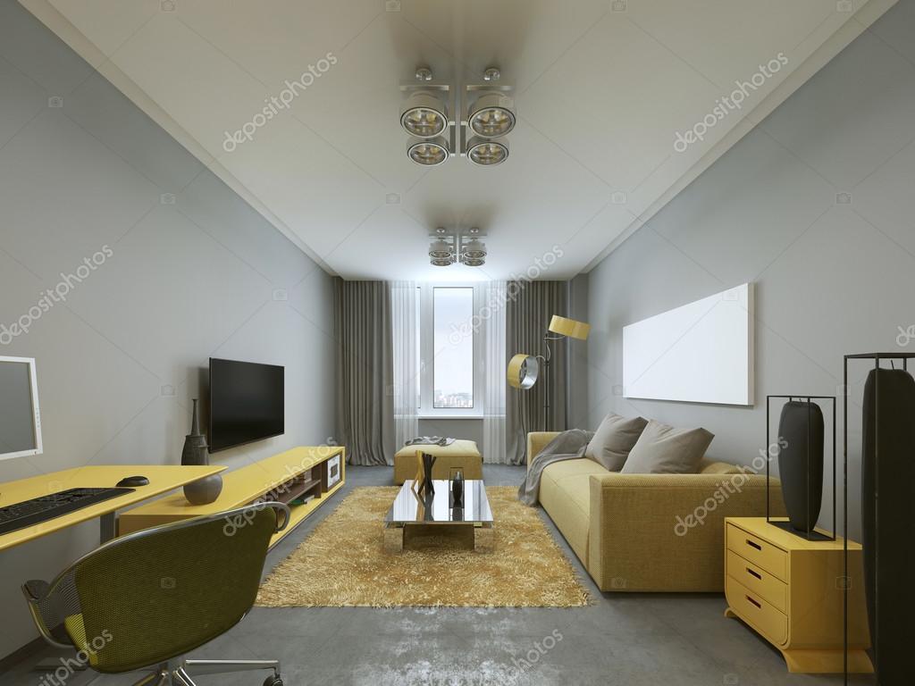 Ontwerp van moderne woonkamer in grijs en geel kleuren — Stockfoto ...