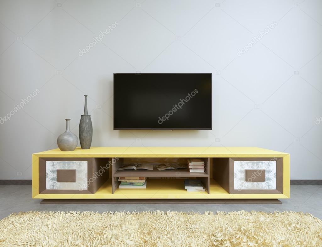 Tv In Muur : Eenheid van de tv in de woonkamer met gele tv aan de muur