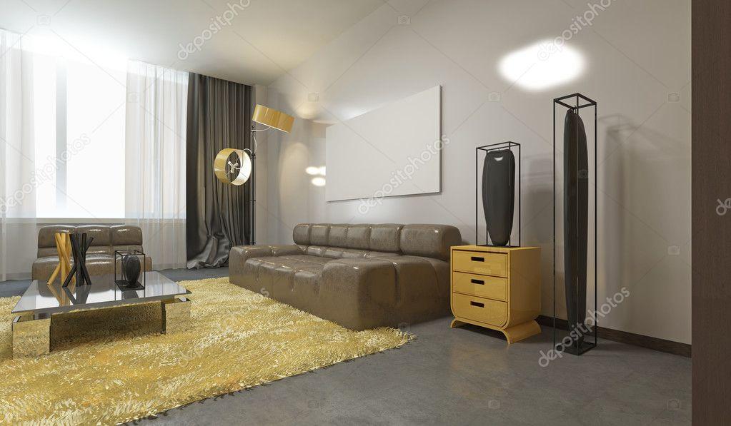 Luxueux salon contemporain gris pâle, jaune et sourcils ...