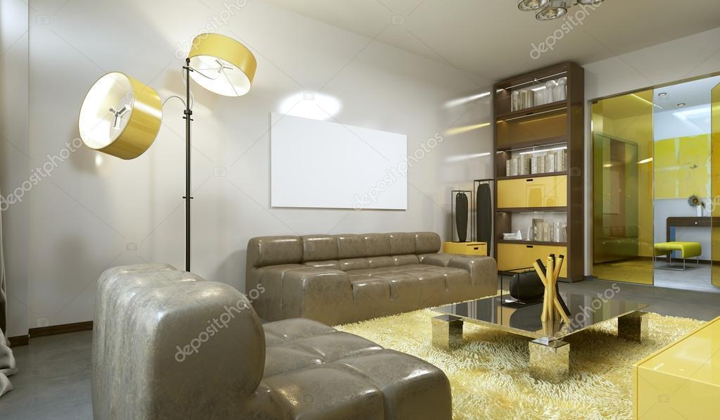 Luxe moderne woonkamer in lichtgrijs geel en wenkbrauw