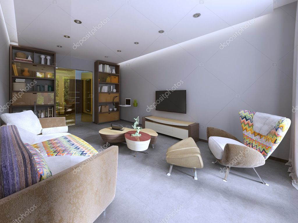 Moderne Wohnzimmer im Kitsch Stil — Stockfoto © kuprin33 #128157088