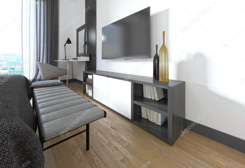 Porta TV in camera da letto in stile moderno — Foto Stock © kuprin33 ...