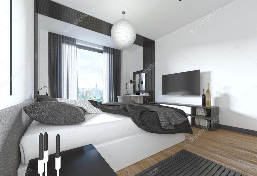 Luxe, moderne slaapkamer in hedendaagse stijl in zwart en whi ...