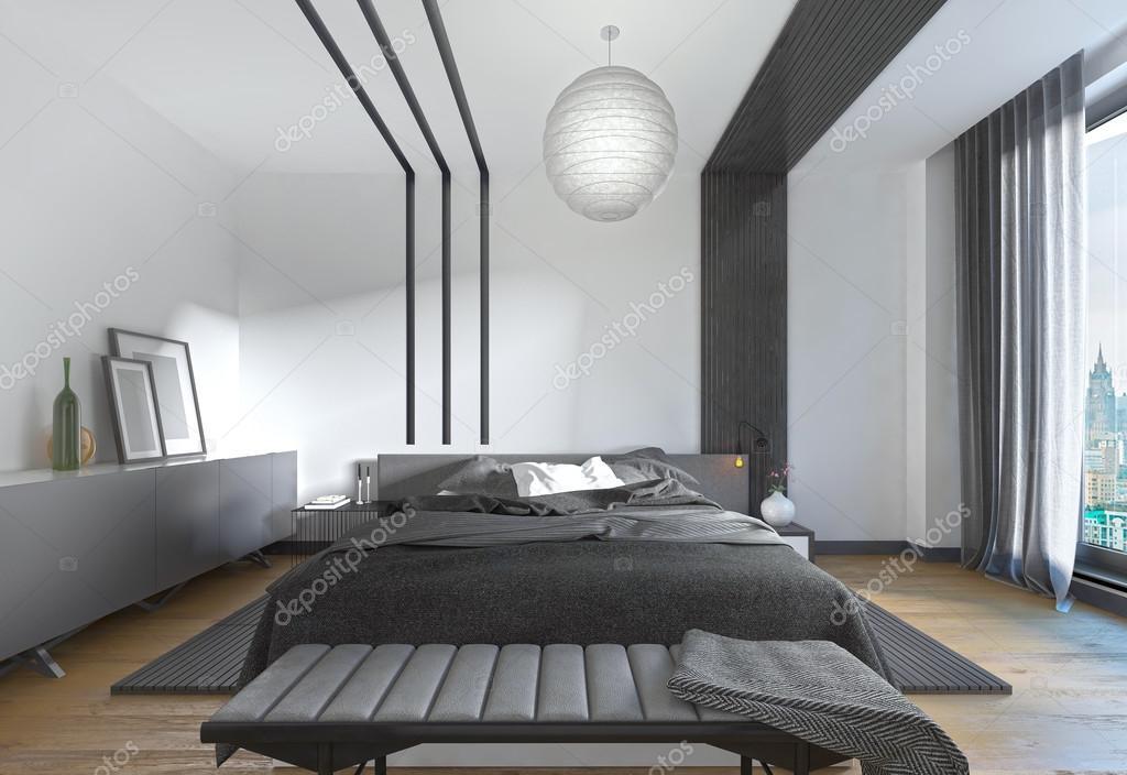 Letto moderno in camera da letto, lo stile contemporaneo — Foto ...