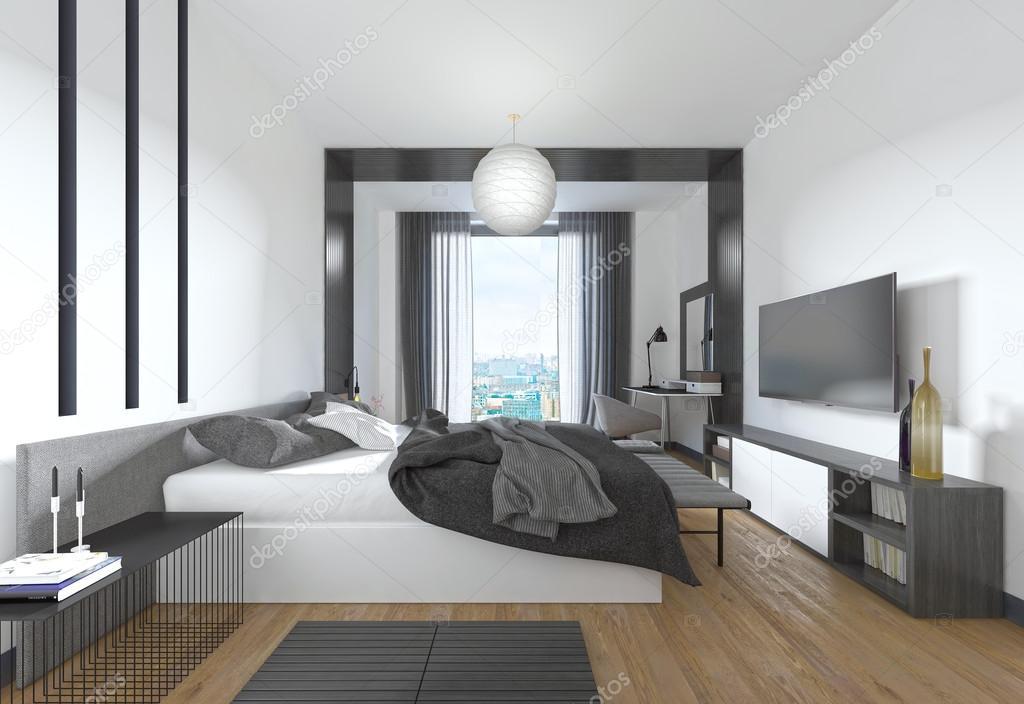 luxe moderne slaapkamer in hedendaagse stijl in zwart en whi stockfoto