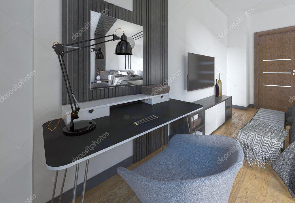 Interieur Kaptafel Styling : Kaptafel en stoel in een moderne slaapkamer u stockfoto kuprin